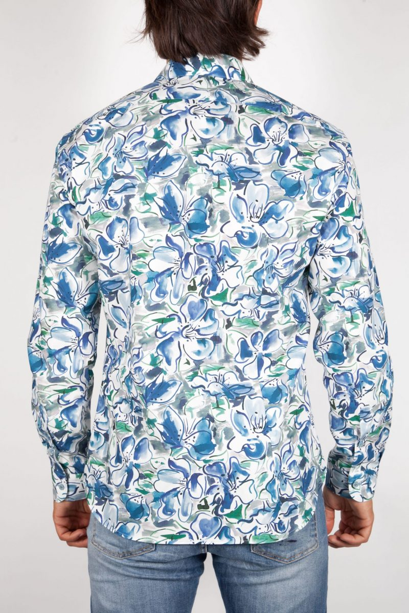 Patterned Shirt with small Italian Collar