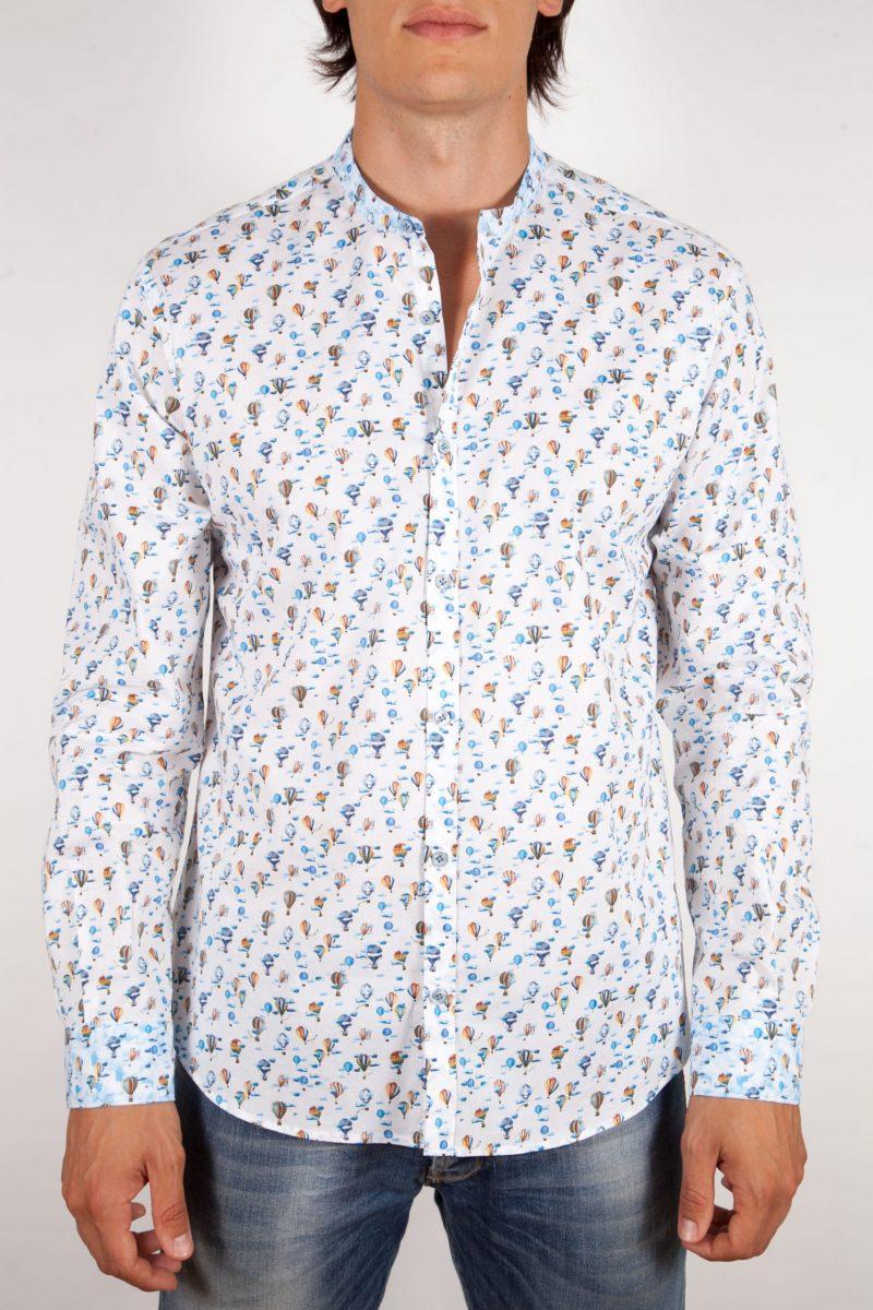Patterned Shirt Mandarin Collar