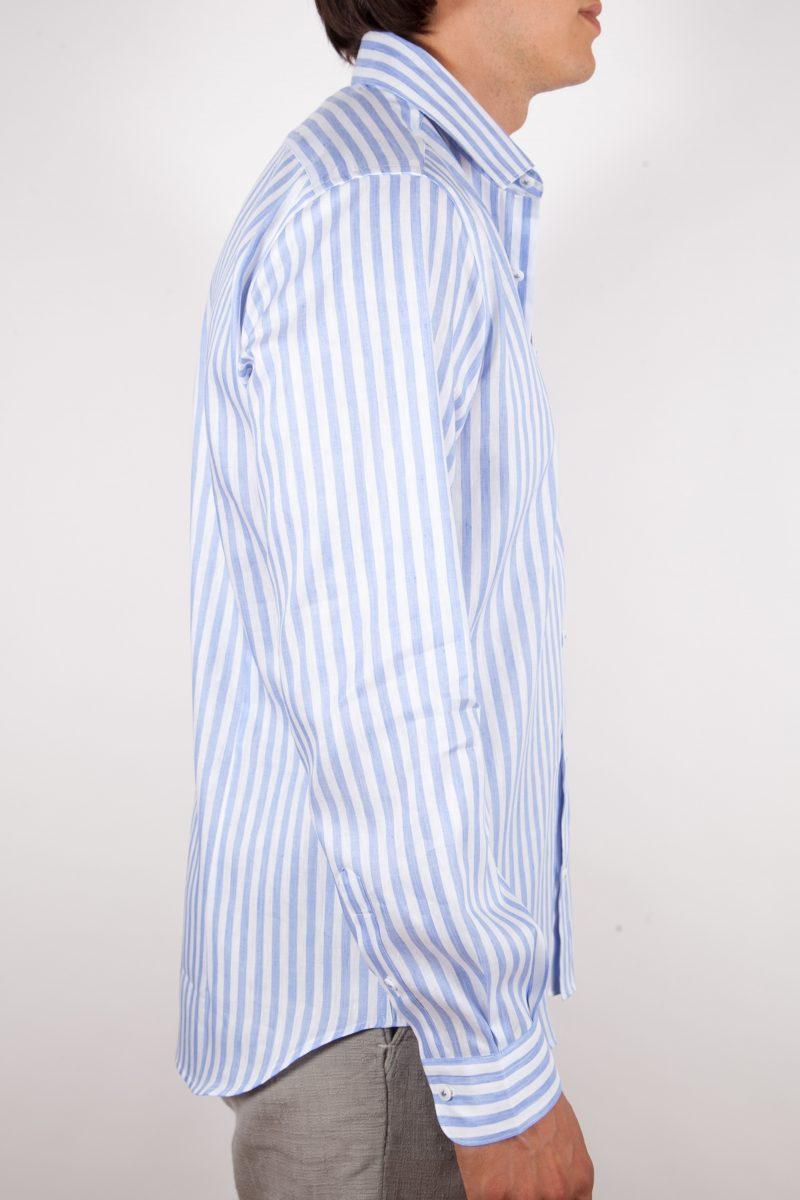 Camicia Fantasia Lino/Cotone  Collo Italiano
