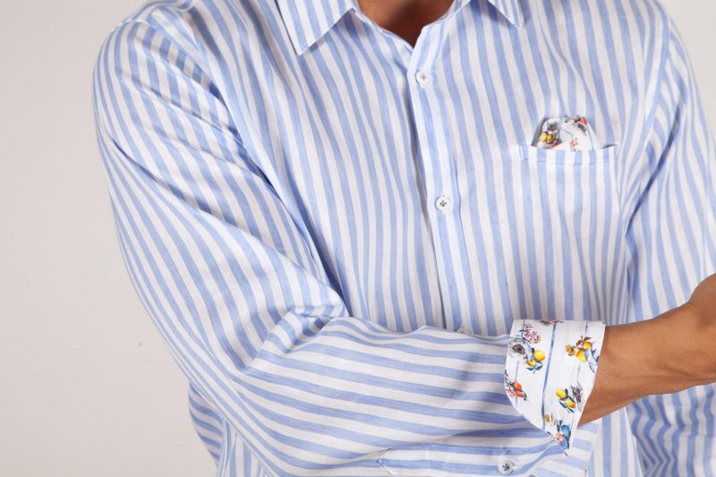 Linen/Cotton Patterned Shirt with Italian Collar