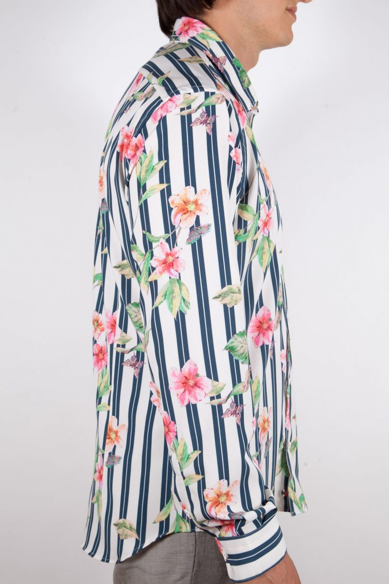 Striped Shirt with Floral Pattern soft Collar