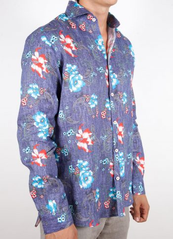 Patterned Linen Shirt French Collar (Copia)