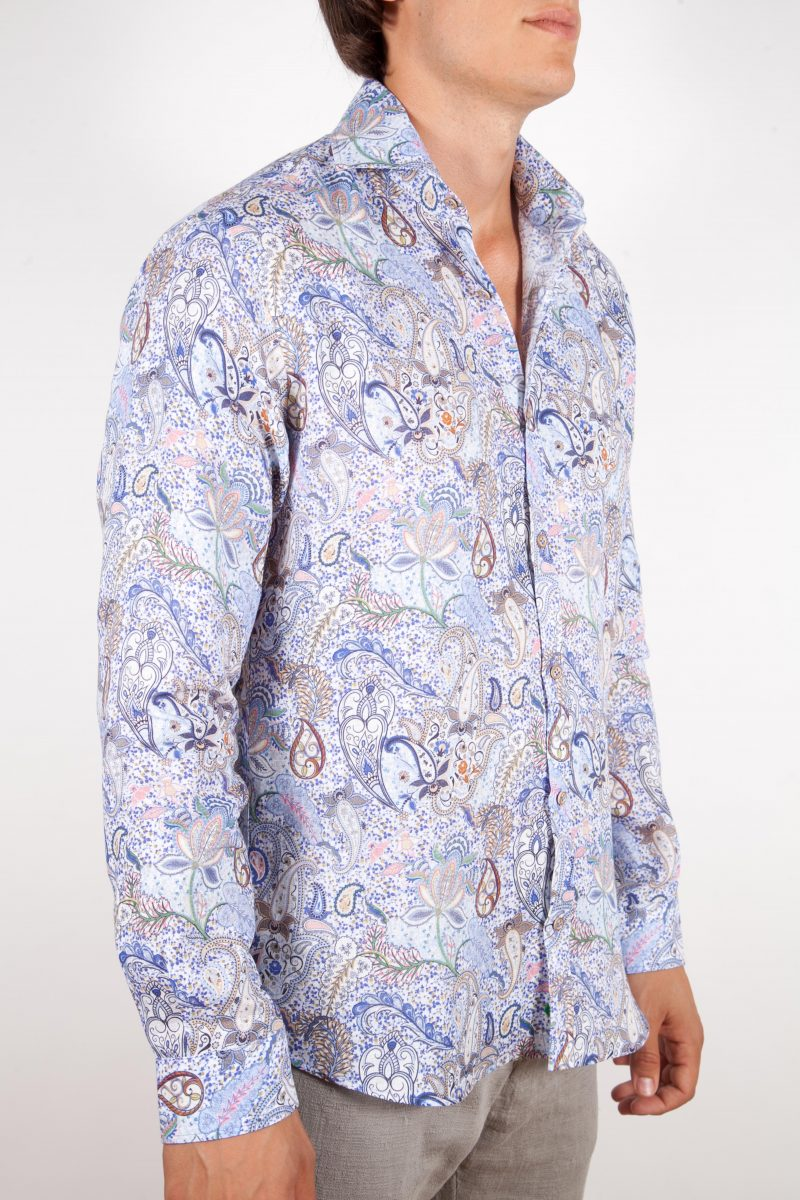 Patterned Linen Shirt French Collar