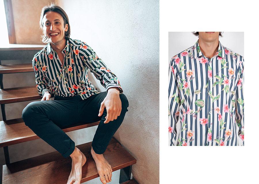 Camicia Righe con Fantasia Floreale