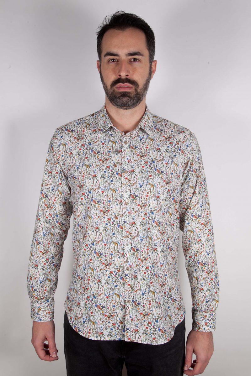 Camicia  in velluto con stampa floreale PISA-66-592-01
