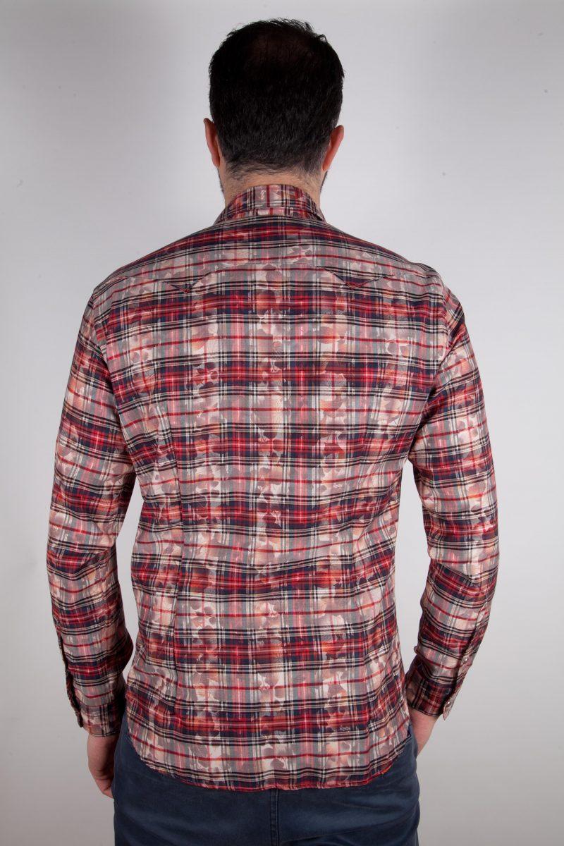 Camicia a quadri con stampa PRUNO-66-571-01