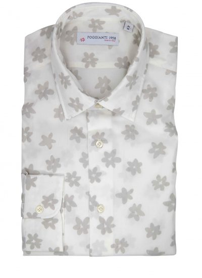 Floral Shirt. Soft Collar. White