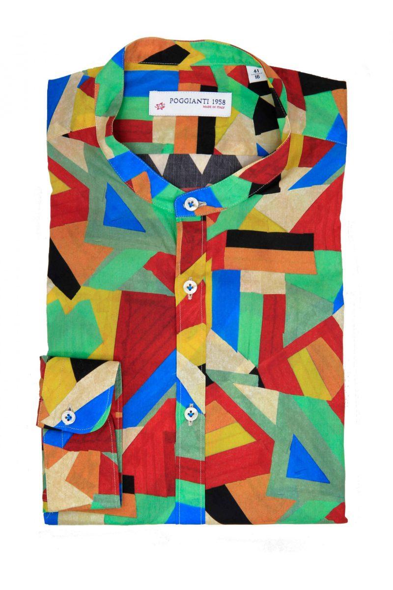 Camicia fantasia geometrica multicolor, Collo coreano