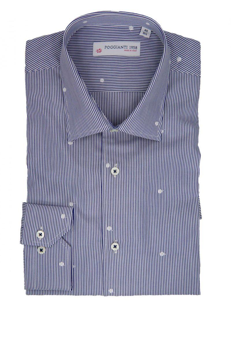 Camicia righe bianco/blu Collo Classico